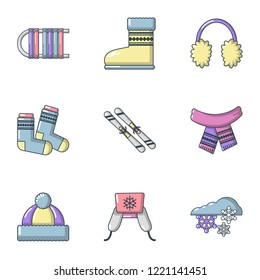 Knitwear icons set. Cartoon set of 9 knitwear vector icons for web isolated on white background