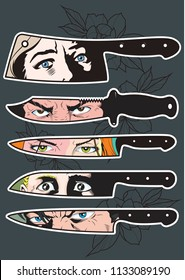 Knives and Eyes Tattoo Designs Comic Book Style