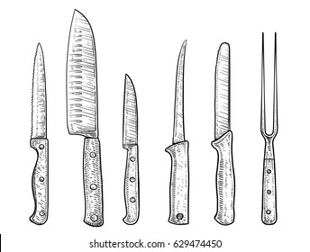 Knives illustration, drawing, engraving, ink, line art, vector