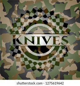 Knives on camouflaged texture