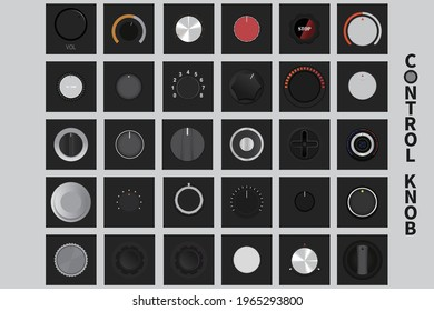 knobs Made up of distinct characteristics, qualities, or elements ,Knobs on black backgrounds vector set