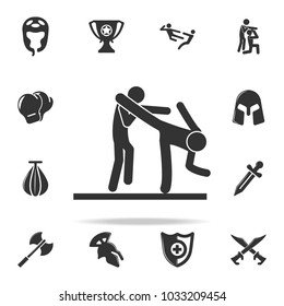 knockdown in action icon. Set of Cfight and sparring element icons. Premium quality graphic design. Signs and symbols collection icon for websites, web design, mobile app on white background