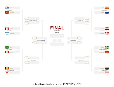 Knockout stage of football tournament, championship bracket with flag participants of round of 16 on white background. Size A2 ready for print.