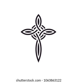 Knot Celtic Christian Catholic Cross Church Jesus logo design inspiration
