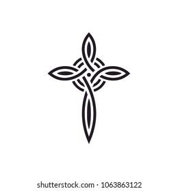 Knot Celtic Christian Cross logo design inspiration