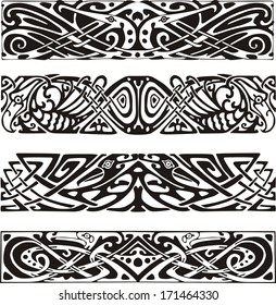 Knot designs in celtic style with birds. Black and white vector illustrations.