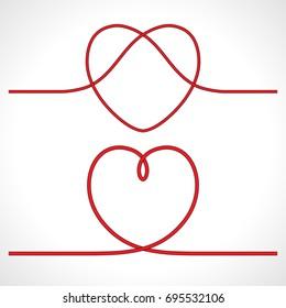 Knot heart shape vector icon logo design. Vector illustration