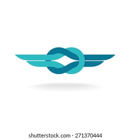 Knot logo. Node symbol with wings. Flat style colors.