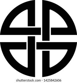 Knot shield symbol of protection Ancient symbol icon black color vector