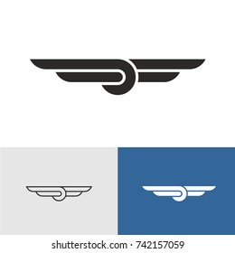 Knot with wings title logo. Aviation sign.