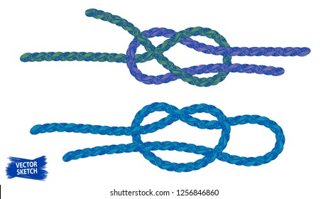 Knots sketches. Nautical rope. Braid. Rope knots. Braided trim. Marine. Sail. Ship. Boat. Sailor. Sea. Ocean. Fishing. Fisherman. Vintage. Hand made.