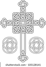 Knotted celtic cross stencil vector illustration for web