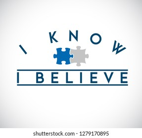 I Know, I Believe puzzle pieces union concept. infographic illustration stamp