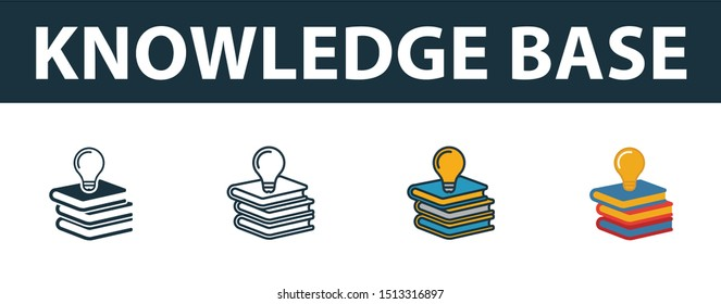 Knowledge Base icon set. Premium simple element in different styles from customer service icons collection. Set of knowledge base icon in filled, outline, colored and flat symbols concept.