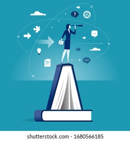 Knowledge. Businesswoman standing on the book and explore space . Business illustration