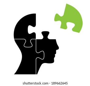 Knowledge concept vector design with green puzzle piece.