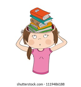 Knowledge and education. Beautiful girl or young woman standing and holding her head, horrified expression on her face. She has a pile of books in her head instead of her brain.
