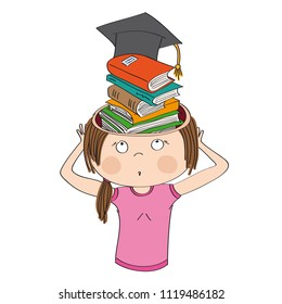 Knowledge and education. Girl or young woman standing and holding her head, horrified expression on her face. She has a pile of books with graduation cap on top in her head instead of her brain.