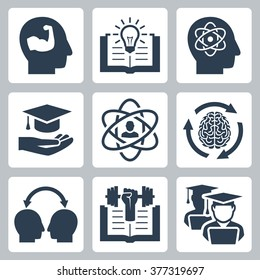 Knowledge and education related vector icons