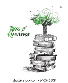 knowledge is growing like tree, Hand Drawn Sketch Vector illustration.
