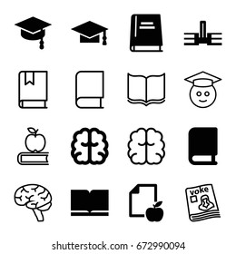 Knowledge icons set. set of 16 knowledge filled and outline icons such as graduation cap, brain, paper and apple, book, arrows up, magazine, graduate emoji, school