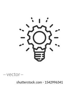 knowledge innovation icon, gear bulb logo, technology industry, thin line web symbol on white background - editable stroke vector illustration eps 10
