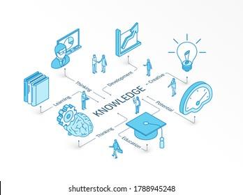 Wissensisometrisches Konzept. 3D-Symbole der verbundenen Linie. Integriertes Infografik-System. Die Leute arbeiten miteinander. Bildung, kreatives Denken, Lehrsymbol. Entwicklung, Lernpotenzial, Bibliothekspiktogramm