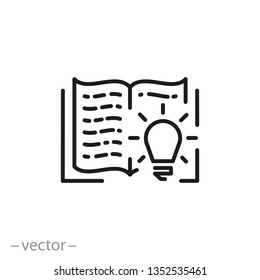 knowledge logo, open book icon, useful information line sign on white background - editable stroke vector illustration eps10 useful information