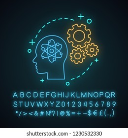 Knowledge neon light concept icon. Artificial intelligence idea. AI. Thinking process. Solution searching. Glowing sign with alphabet, numbers and symbols. Vector isolated illustration