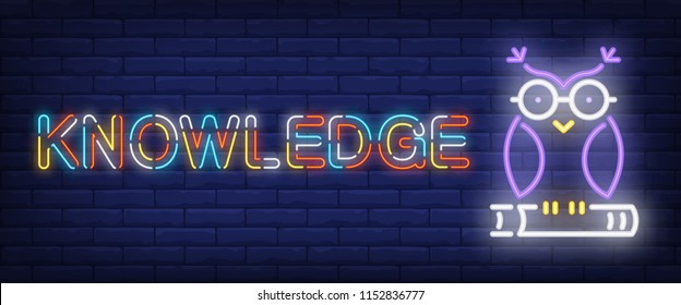 Knowledge neon text with owl on book. Education and knowledge concept. Advertisement design. Night bright neon sign, colorful billboard, light banner. Vector illustration in neon style.