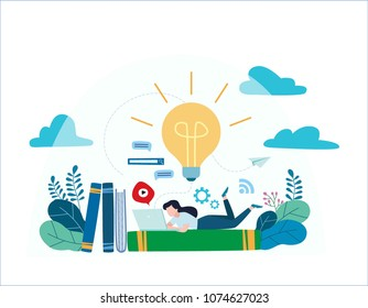 knowledge online. illustration vector.distance education concept. video tutorial, training courses.girl laying on books and textbooks while surfing internet with a laptop for ideas.