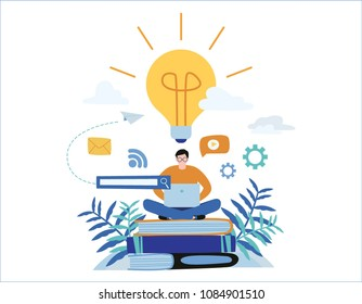 knowledge online. illustration vector.