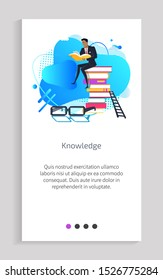 Knowledge person reading books vector, male sitting on pile of publication, ladder and glasses, poster with text sample person wearing formal suit. Website or app slider, landing page flat style