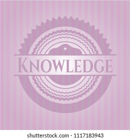 Knowledge pink emblem. Vintage.