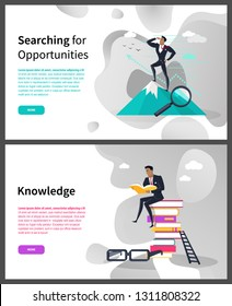Knowledge and searching for opportunities web page vector. Businesswoman on top of mountain and pile of books, ladder and glasses, successful business