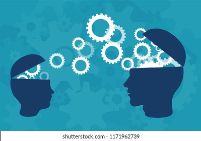 Knowledge transfer concept. Vector of two head silhouette of adult person and a child sharing knowledge, ideas, over blue background