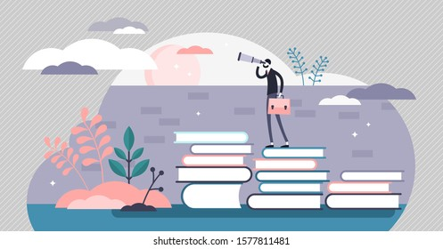 Knowledge vector illustration. Smart wisdom persons in flat tiny concept. Wider and far reaching vision from learning and reading books in academic education. Sharp mind and powerful intellect scene.