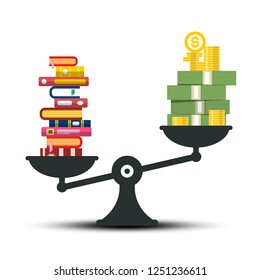 Knowledge - Wisdom and Wealth Comparison. Books and Money on Scales Vector Illustration.