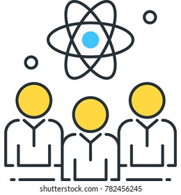 Knowledge worker line icon. Group of doctors, scientists, researchers, analysts, engineers, academics, architects, design thinkers, professionals, white collar workers linear vector illustration.