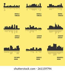Knoxville, Nashville, Memphis, Louisville, Lexington, Frankfort, Fort Wayne, Evansville, Indianapolis (Set of 9 city silhouette)