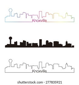 Knoxville skyline linear style with rainbow in editable vector file