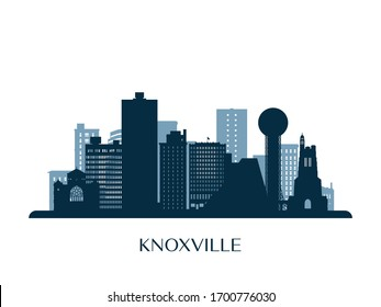 Knoxville skyline, monochrome silhouette. Vector illustration.