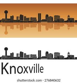Knoxville skyline in orange background in editable vector file