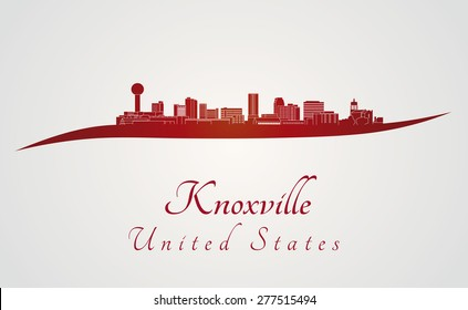 Knoxville skyline in red and gray background in editable vector file