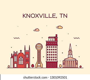Knoxville skyline, Tennessee, USA. Trendy vector illustration, linear style