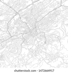 Knoxville, Tennessee, USA, bright outlined vector map with bigger and minor roads and steets created for infographic backgrounds.