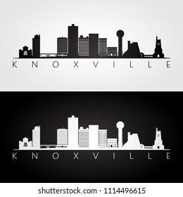 Knoxville, USA skyline and landmarks silhouette, black and white design, vector illustration.