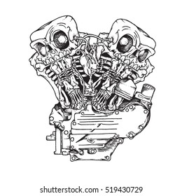 Knuckle twin motorcycle engine. Handcrafted mascot of stylish motorcycle engine with twin skeletons in ink technique. Biker poster, t-shirt design, tattoo idea.