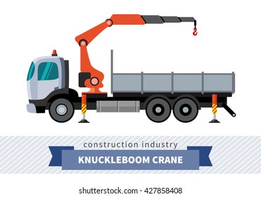 Knuckleboom crane truck. Side view mobile crane isolated vector illustration