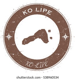 Ko Lipe circular patriotic badge. Grunge rubber stamp with island flag, map and name written along circle border, vector illustration.